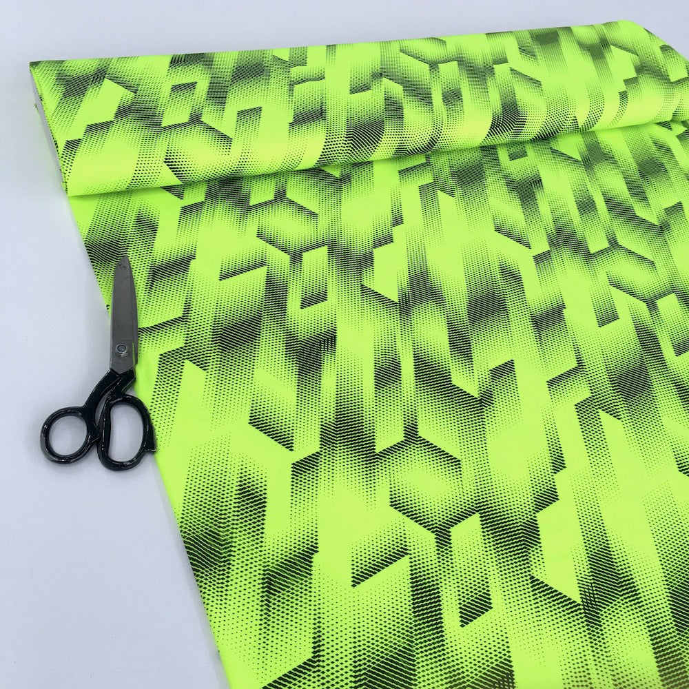 Dry Fit Sports Technical Jersey Geo Fluorescent Yellow - Frumble Fabrics