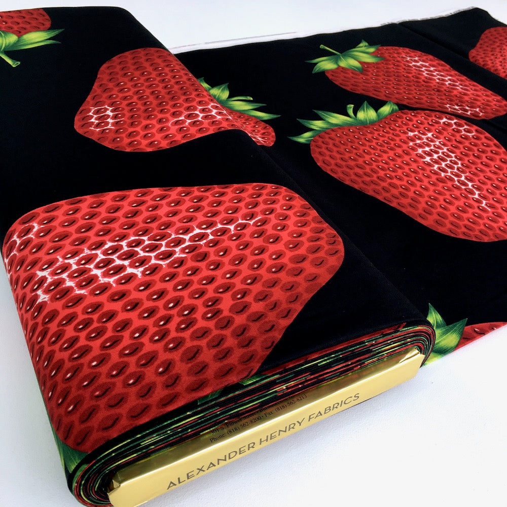 Very Strawberry Black - Frumble Fabrics