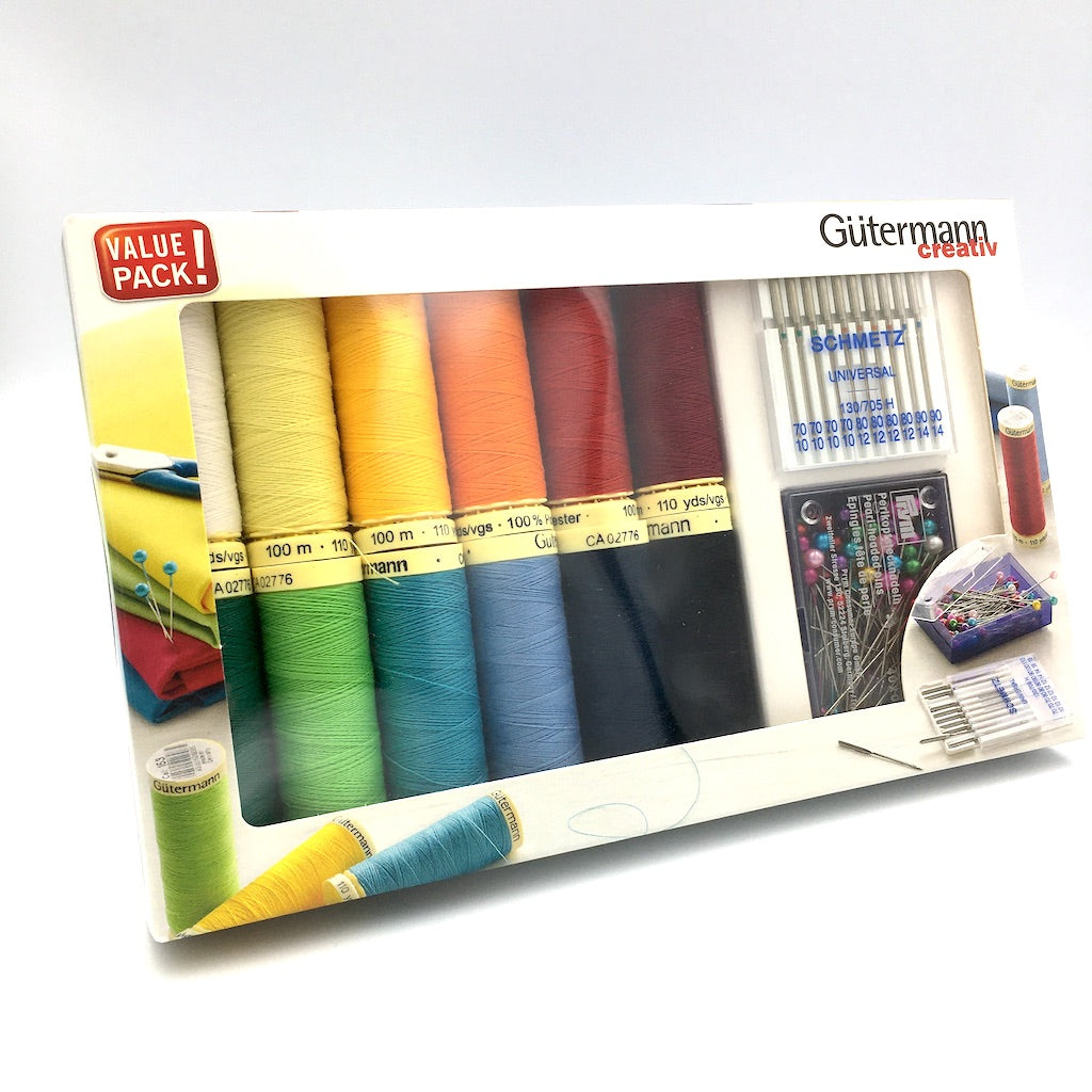 Gutermann 100m Sew All Thread - 12 Reels plus Pins & Needles