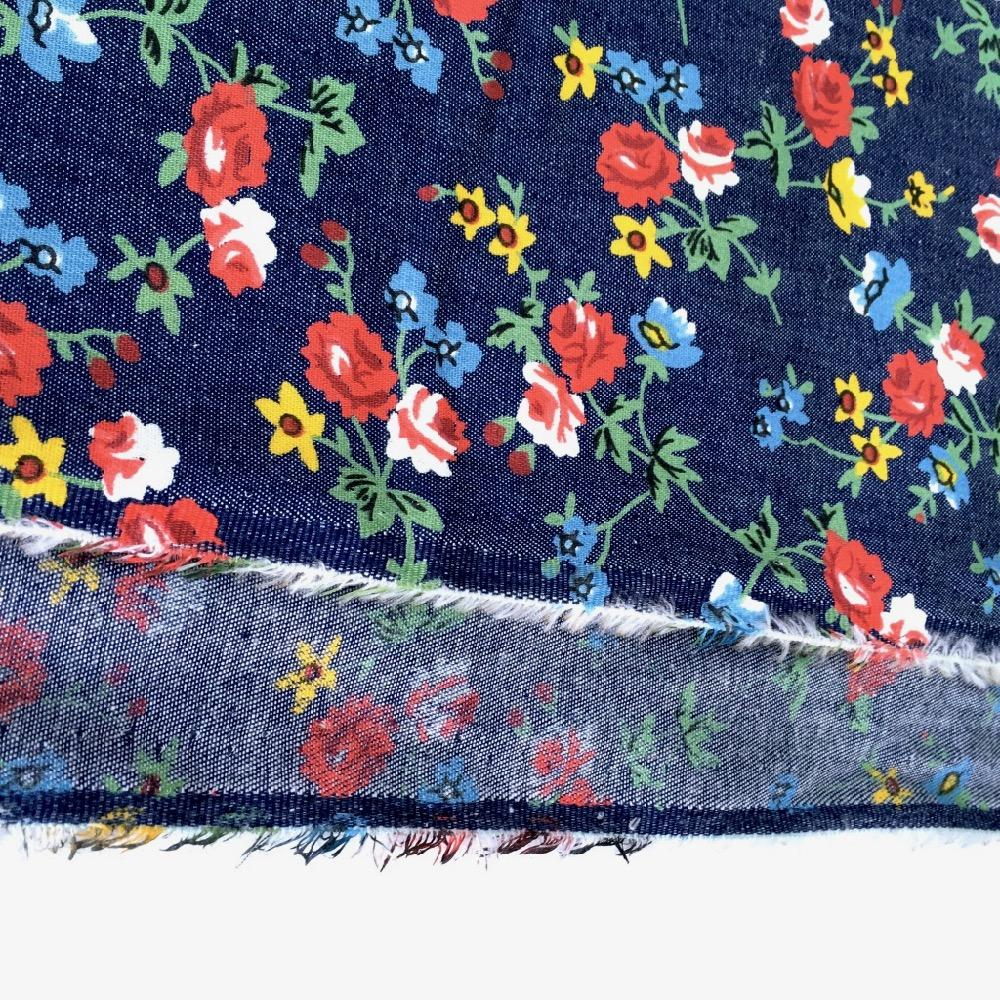 Red Roses Garden Cotton Chambray light Denim Fabric perfect for dressmaking