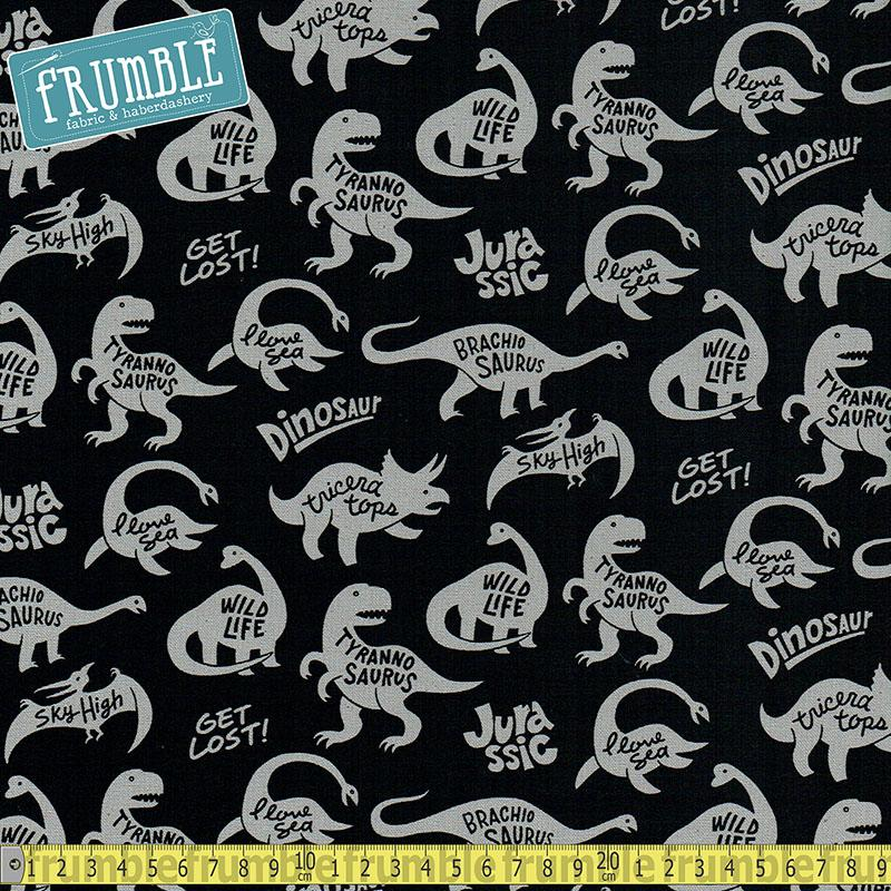 CANVAS Jurassic Life Black Fabric by Kokka