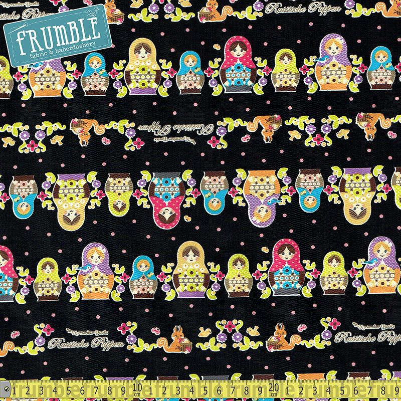 Push Pin Russian Doll Black - Frumble Fabrics