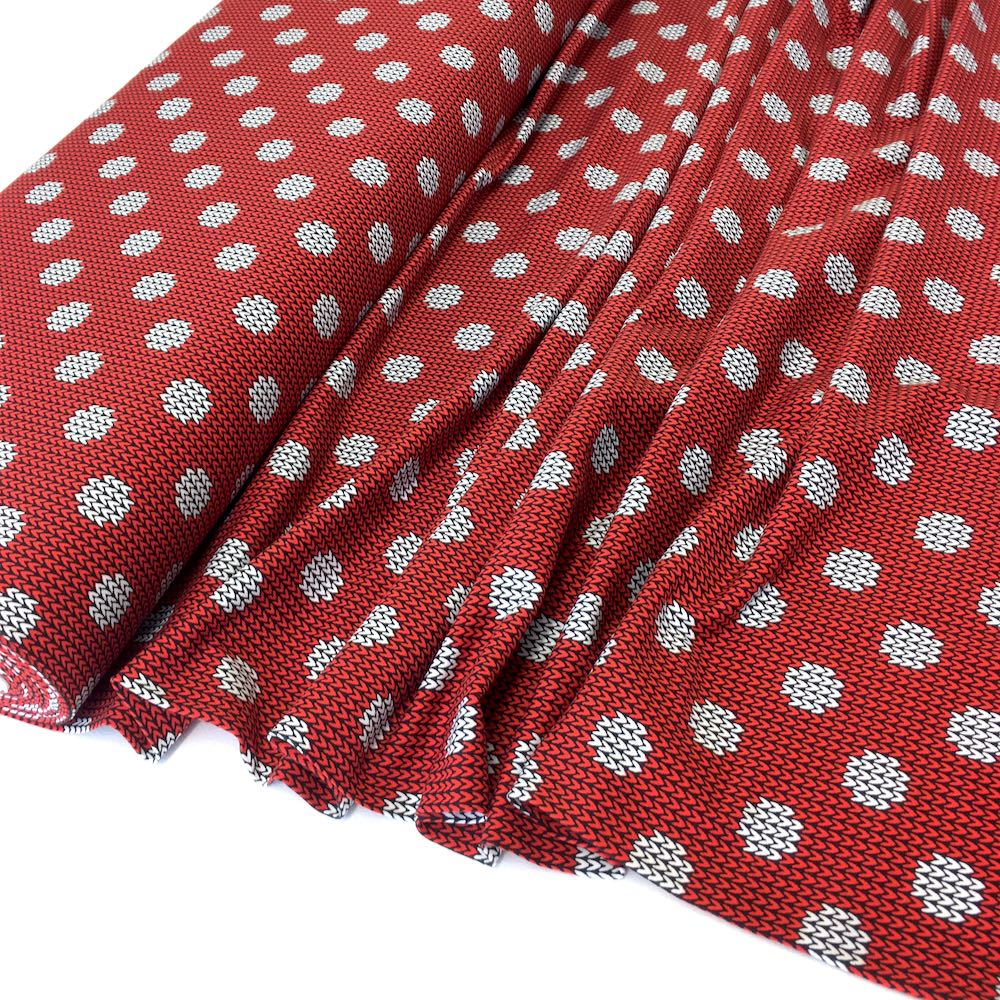 Knit And Purl Dots Red Jersey Print Fabric