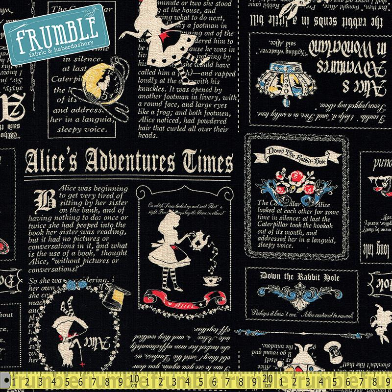 Alice's Adventure In Wonderland Newspaper Black Fabric by Lecien