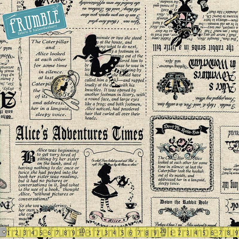 Alice's Adventure In Wonderland Newspaper Natural Fabric by Lecien