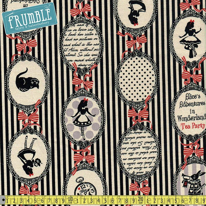 CANVAS Girls Story Alice In Wonderland Tea Party Stripe Black Fabric by Lecien