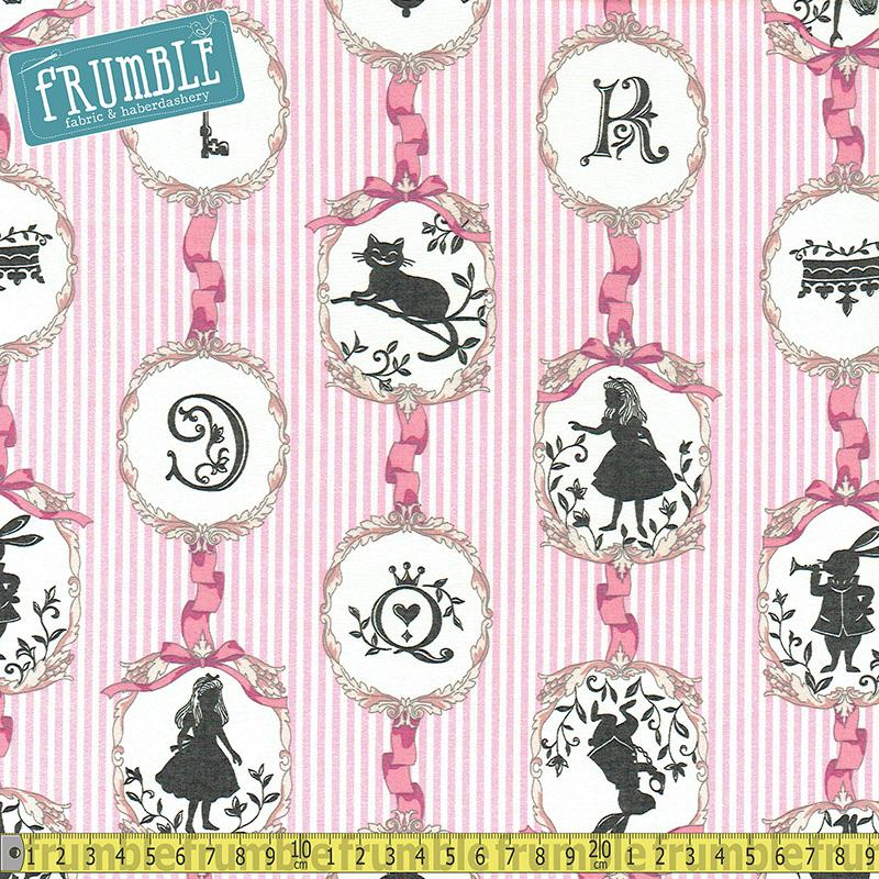 Girls Story Alice In Wonderland Frames Stripe Pink - Frumble Fabrics