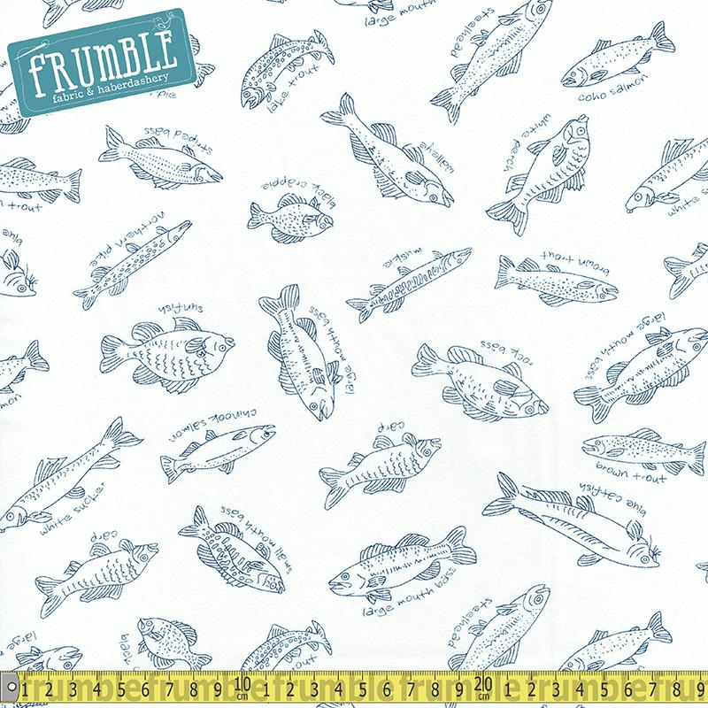 Fishline Sketchy Fish White Fabric by Maywood Studio