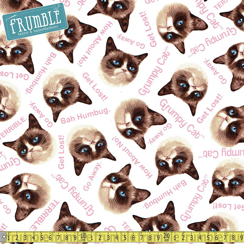 Grumpy Cat White Fabric by Various