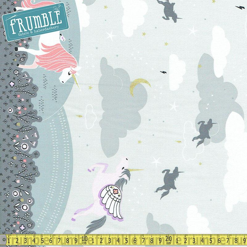 Believe Magic Meadow With Metallic Double Border Cloud - Frumble Fabrics