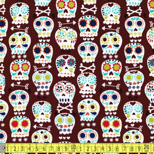 Bone Head Cocoa Fabric by Michael Miller