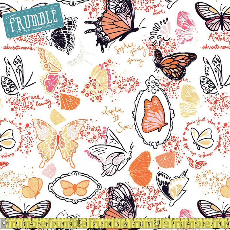 Butterfly Sketchbook Orange Fabric by Michael Miller