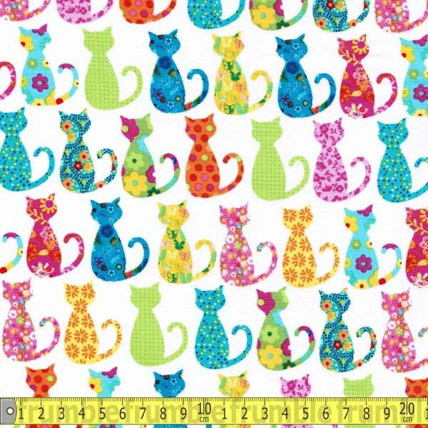 Calico Cats White Fabric by Michael Miller