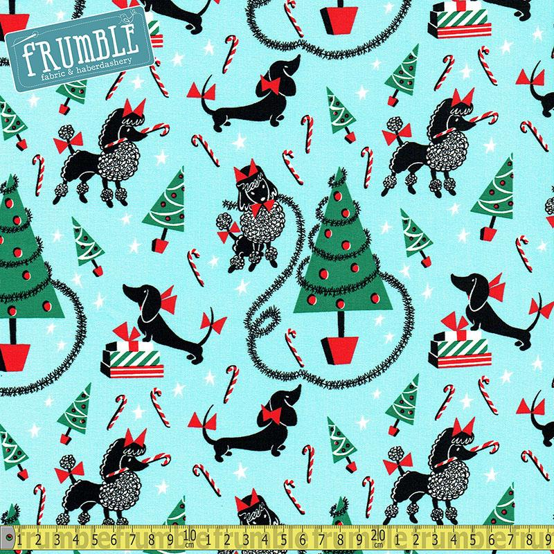 Canine Christmas Aqua Fabric by Michael Miller