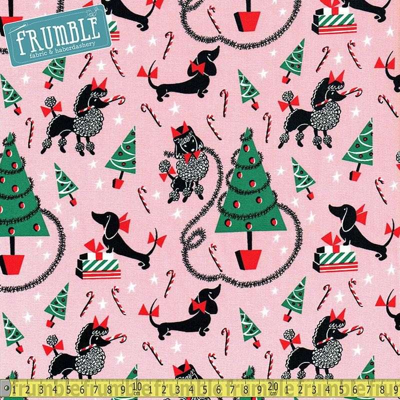 Canine Christmas Pink Fabric by Michael Miller