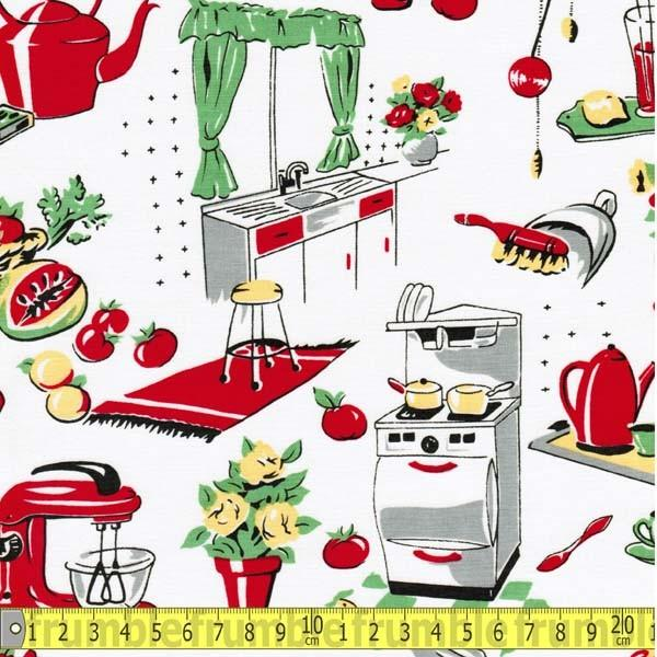 Fifties Kitchen Cream Fabric by Michael Miller