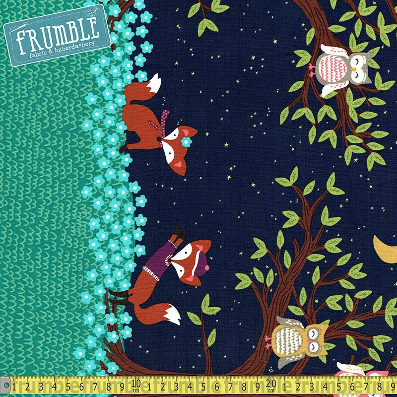 Fox Woods Border Navy Fabric by Michael Miller