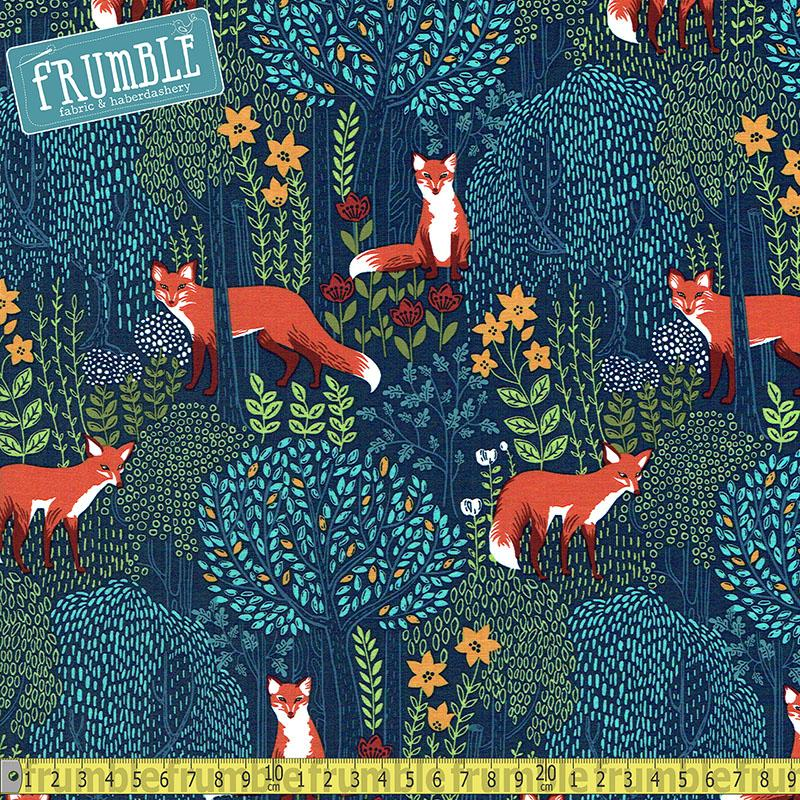 Foxes Into The Woods Nite Fabric by Michael Miller