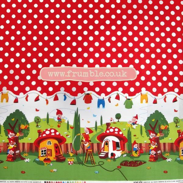 Gnomeville Red Fabric by Michael Miller