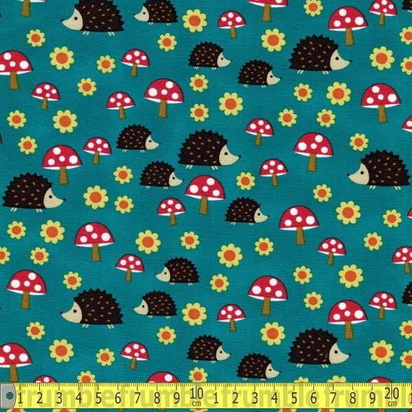 Hedgehoglets Teal Fabric by Michael Miller