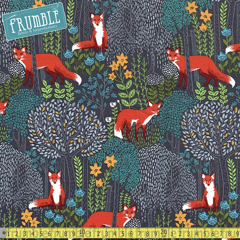 Foxes Into The Woods Dusk Fabric by Michael Miller