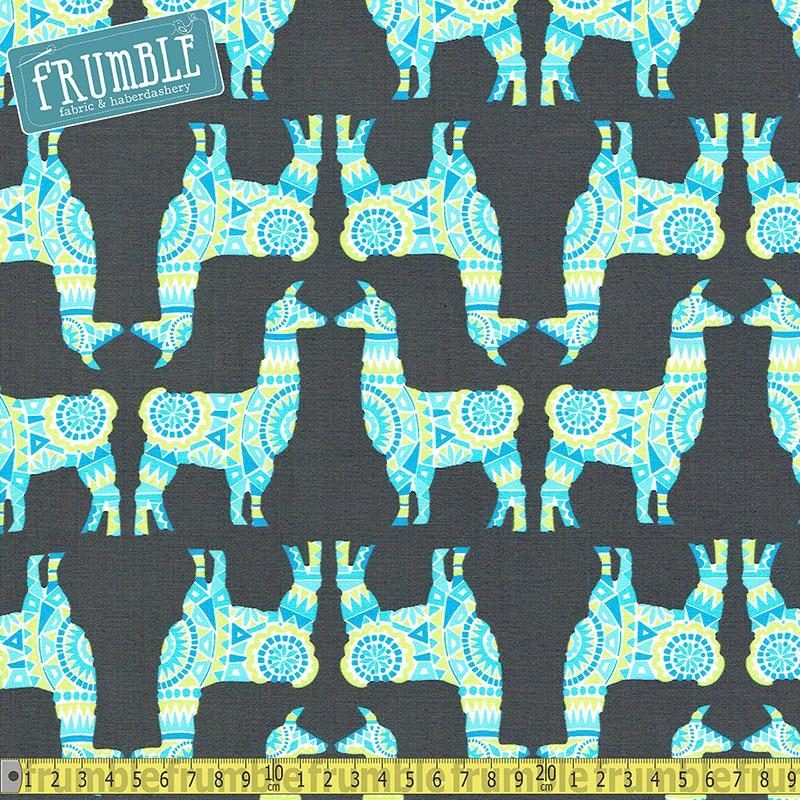 Llama Rama Stream Fabric by Michael Miller