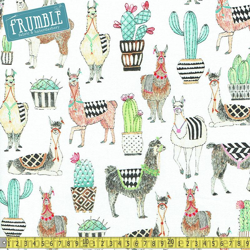 Lovely Llamas White Fabric by Michael Miller