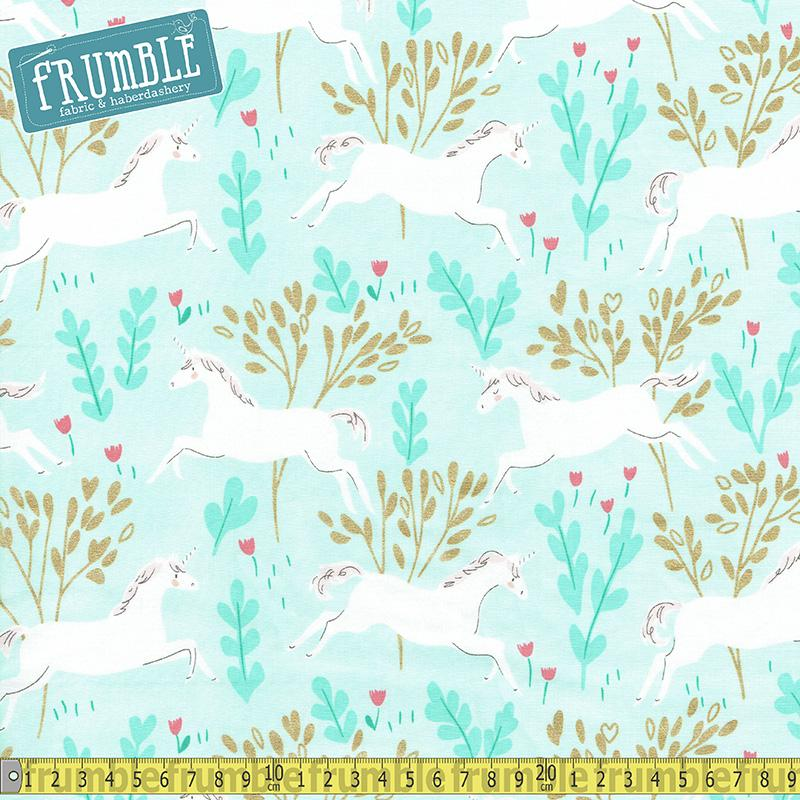 Magic Unicorn Forest Aqua Metallic Fabric by Michael Miller