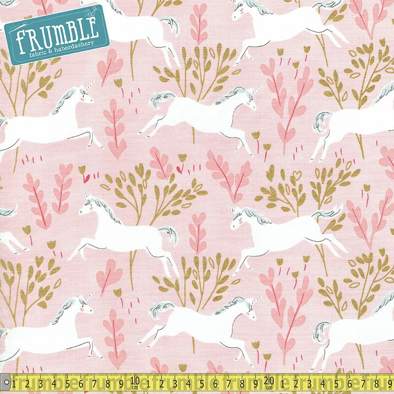 Magic Unicorn Forest Blossom Metallic Fabric by Michael Miller
