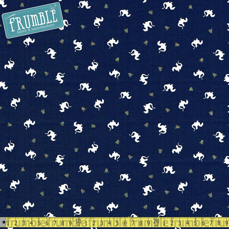 Metallic Baby Dragon Navy Fabric by Michael Miller