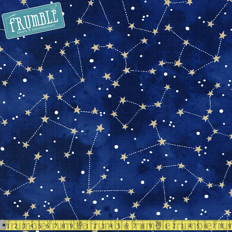Metallic Constellation Midnight Fabric by Michael Miller