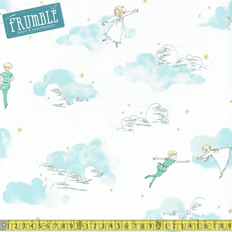 Metallic Peter Pan and Wendy Cloud Fabric by Michael Miller