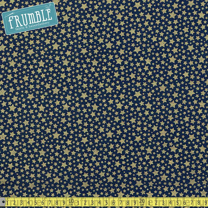 Metallic Starbrite Navy Fabric by Michael Miller