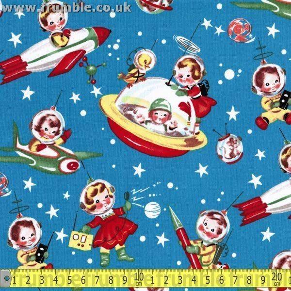 Retro Rocket Rascal Multi - Frumble Fabrics