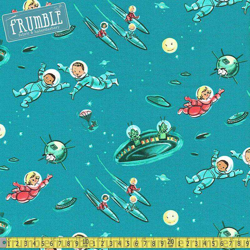 Rocket Kids Little Green Men Ozone Fabric by Michael Miller