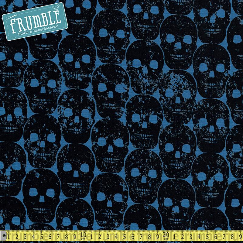 Skulls Out Numb Skull Blue Fabric by Michael Miller