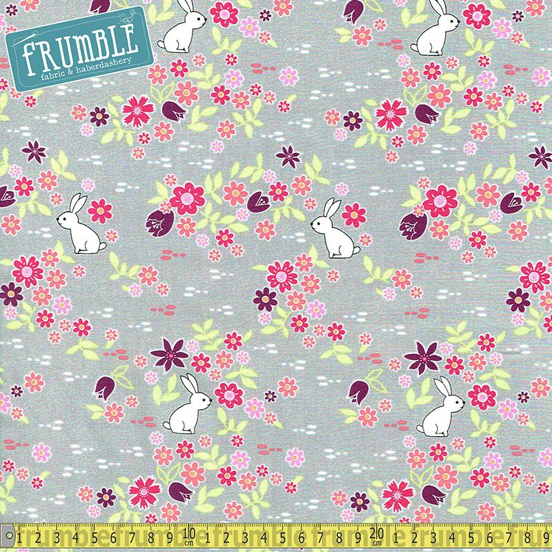 Bunny Tracks Cloud Grey Fabric by Michael Miller