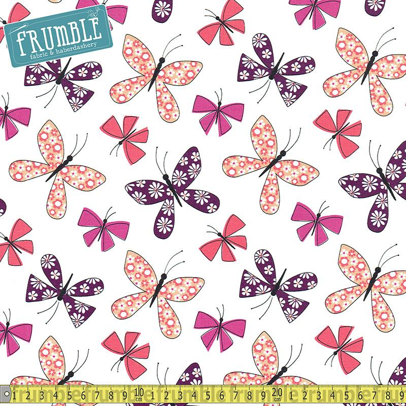 Chasing Butterflies Berry Fabric by Michael Miller