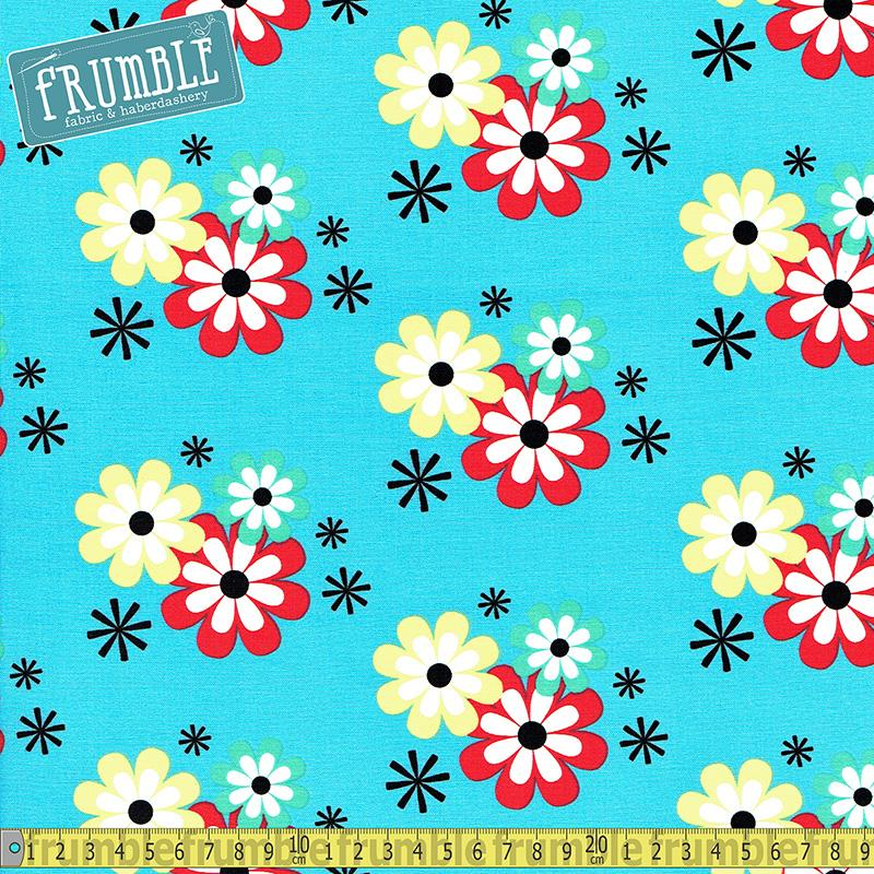 Flower Frolic Wave Blue Fabric by Michael Miller
