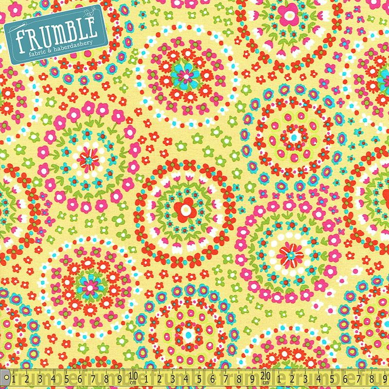 Flowertopia Ring Of Flowers Sunshine Fabric by Michael Miller