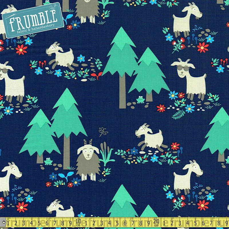 Goat Island Navy Fabric by Michael Miller