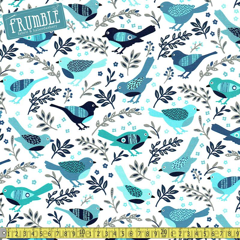 Happy Bird Blue - Frumble Fabrics