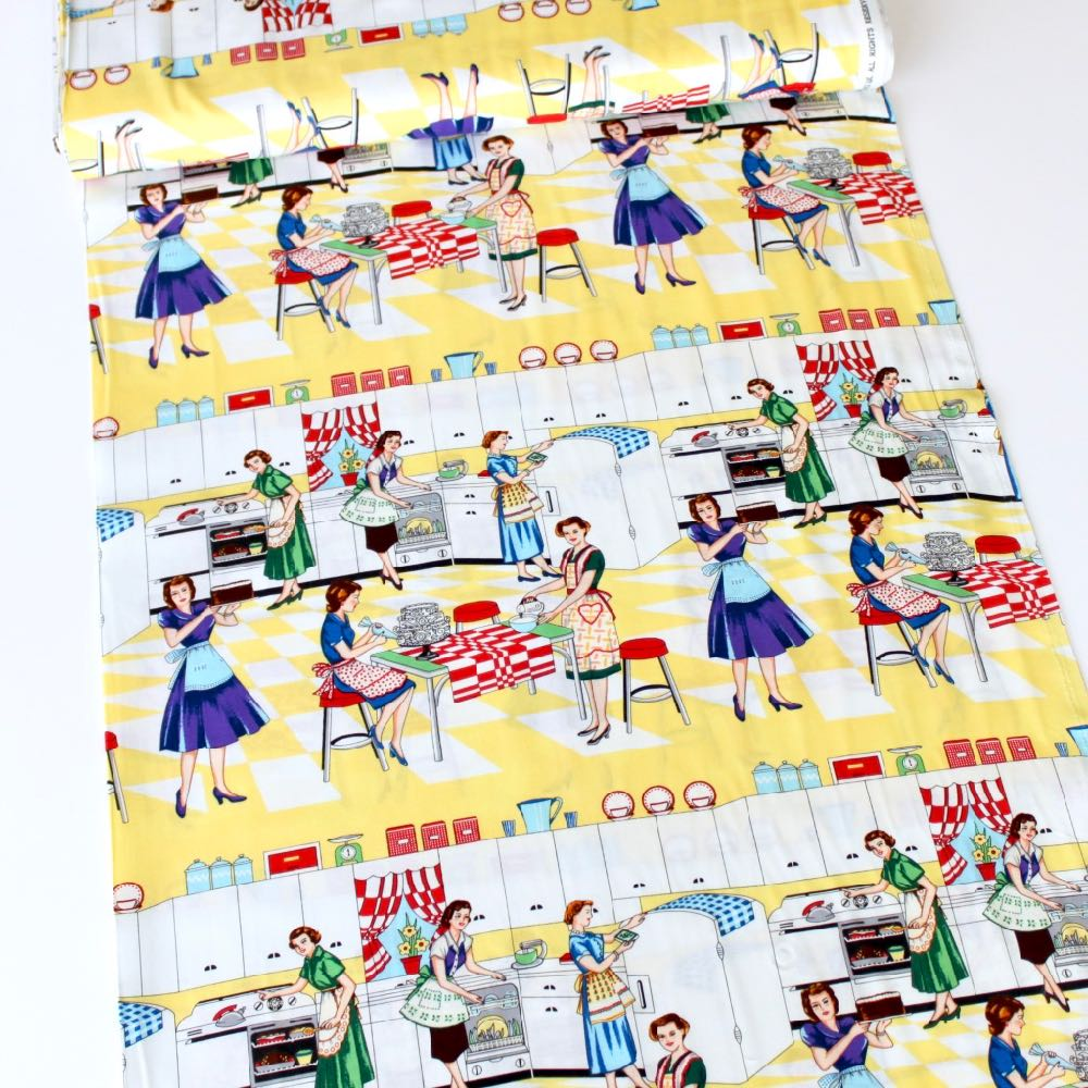 Michael Miller Home Ec Retro Kitchen 50s Pin Up Sewing Fabric