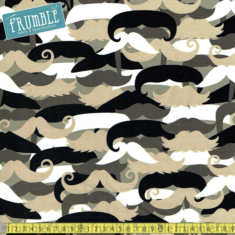 Mustachioed Man Neutral Fabric by Michael Miller