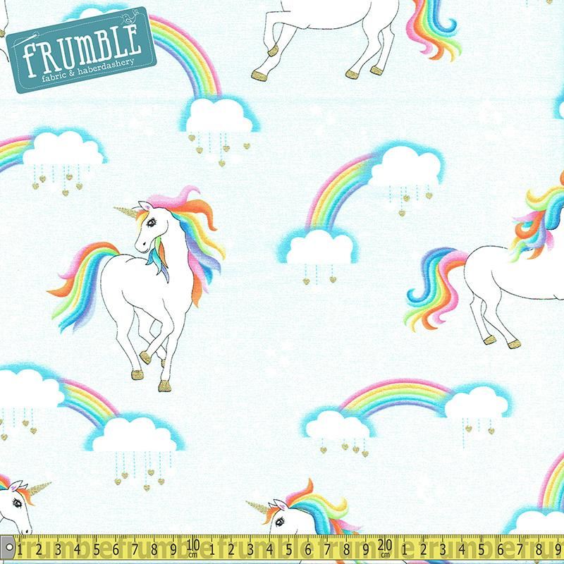 Rainbow Hair Don't Care Sky - Frumble Fabrics