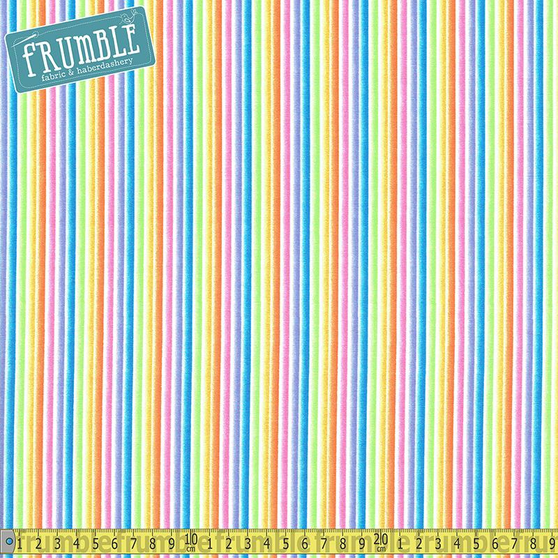 Rainbow Stripe Rain Fabric by Michael Miller