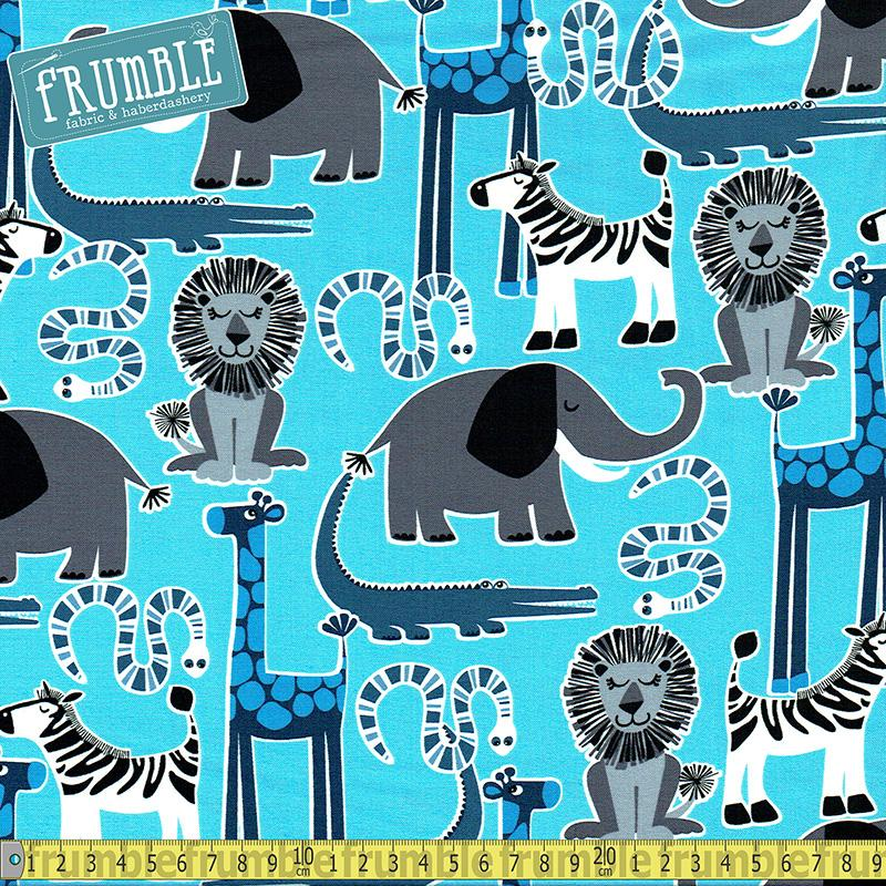 Safari Friends Blue Fabric by Michael Miller
