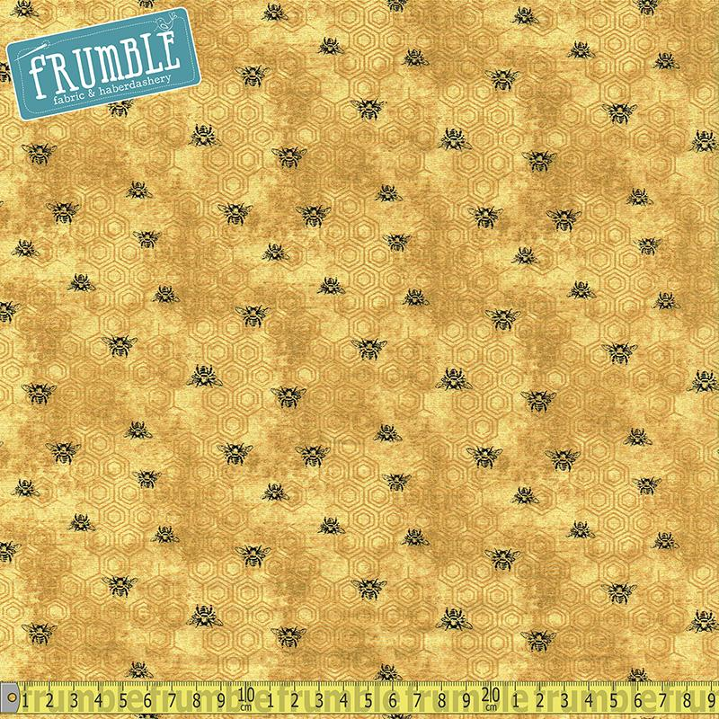 Bee Kind Spaced Bees Gold Fabric by Paintbrush Studio