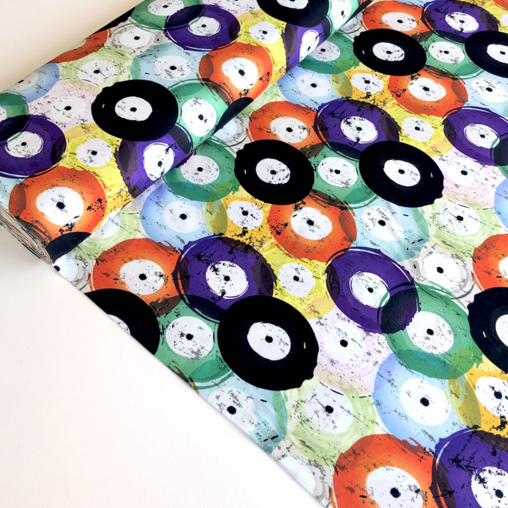Painted Record Vinyl Jersey Print - Frumble Fabrics