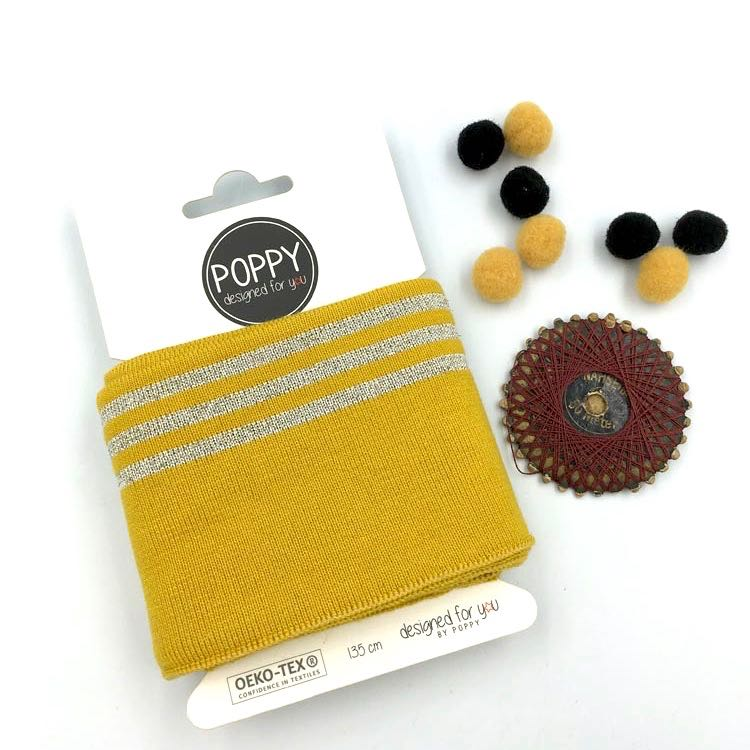 Cuffs by Poppy - Silver 3 Stripes Mustard